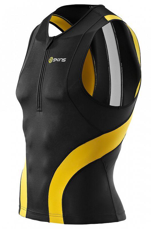 Купить Skins t50052030 tri 400 mens top sleeveless w zip (черный/желтый) (арт. 12338)