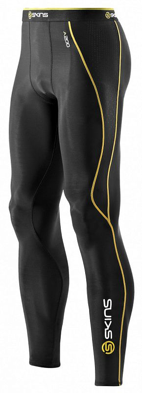 Skins b60052001 a200 mens long tights тайтсы (черный/желтый) (арт. 12339)  - купить со скидкой