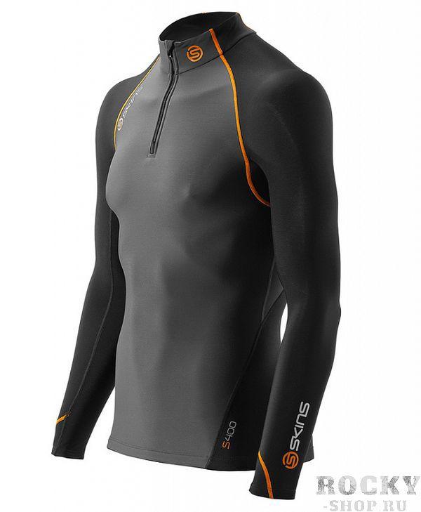 Купить Skins b64061025 bioacc s400 mens thermal l/s mckneck w zip футболка с длинным рукавом(черн/сер/желт) (арт. 12340)