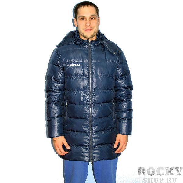 MIKASA MT194 0036 Куртка-пуховик  MikasaКуртки / ветровки<br>Куртка-пуховик MIKASA MT194 0036•Удлиненный пуховик унисекс темно-синего цвета из полиэстера с наполнением из пуха (70%) и пера (30%). •Куртка застегивается на молнию, имеет два боковых кармана и съемный капюшон. •Материал имеет водоотталкивающее свойство, что делает куртку практичной и удобной в использовании. •В правой верхней части нашит логотип бренда.<br><br>Размер INT: M