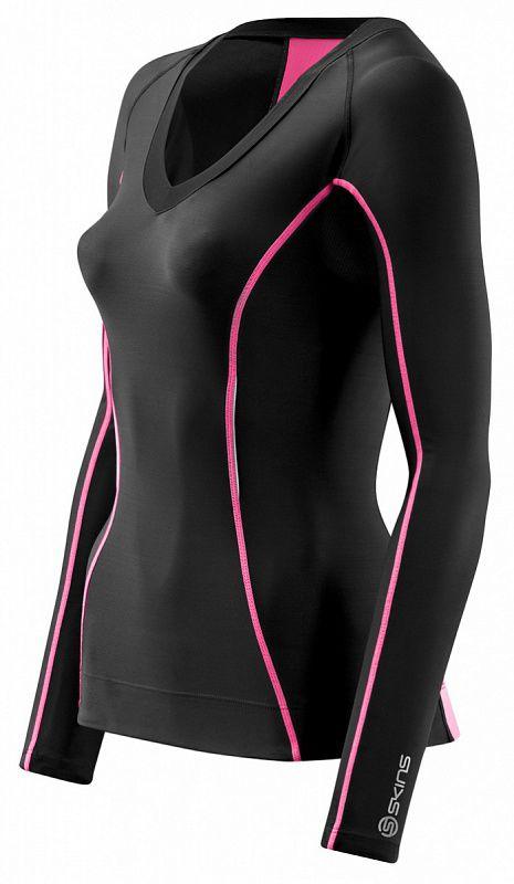 Купить Skins b61063005 a200 womens top long sleeve футболка с длинным рукавом (черный/розовый) (арт. 12346)
