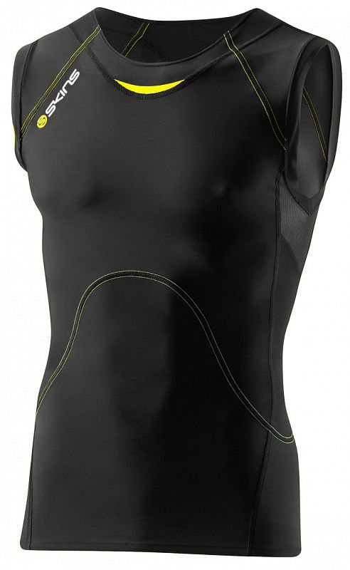SKINS B40001003 A400 TOP SLEEVELESS Майка (черный/желтый) SkinsКомпрессионные штаны / шорты<br>Компрессионное белье (Майка без рукавов) Skins. 76% нейлон / 24% спандексВысокотехнологичное компрессионное белье Skins обеспечивает правильный уровень давления на&amp;nbsp;поверхность определенных частей тела тем самым увеличивая приток кислорода к&amp;nbsp;мышцам и&amp;nbsp;улучшая кровообращение. Улучшение кровообращения также способствует выведению молочной кислоты и&amp;nbsp;других метаболических отходов накапливаемых во&amp;nbsp;время интенсивной тренировки. Memory MX&amp;nbsp;Fabric&amp;nbsp;&amp;mdash; компрессионные свойства не&amp;nbsp;теряются со&amp;nbsp;временем за&amp;nbsp;счет высокой эластомерной натяжки возвращающую ткань в&amp;nbsp;свою первоначальную форму. Отличные влаговыводящие свойства ткани сохранят тело сухим. Ткань обладает защитой от&amp;nbsp;ультрафиолетовых лучей 50+. Уникальный способ поддержки ключевых групп мышц:Меньше вибрации мышцМенее подвержены повреждениям мягкие тканиСнижение риска развития мышечных травм во&amp;nbsp;время усталости<br><br>Размер INT: 2XL