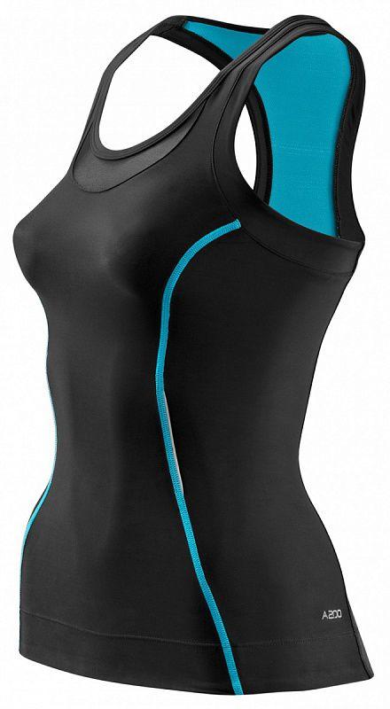 SKINS B61073051 A200 WOMENS RACER BACK TOP Топ (черный/голубой) SkinsКомпрессионные штаны / шорты<br>Топ A200 представляет все преимущества революционной градиентной компрессии SKINS. Вся линейка одежды A200 обеспечивает оптимальный уровень компрессии на&amp;nbsp;определённые участки тела, улучшает циркуляцию крови, повышая силу, скорость и&amp;nbsp;выносливость независимо от&amp;nbsp;вашего вида спорта. Поддерживающий эффект и&amp;nbsp;градиентная компрессия существенно уменьшают вибрацию мышц, предохраняя от&amp;nbsp;повреждений мягких тканей. Превосходные свойства отведения влаги способствуют испаряющему охлаждению, который поддерживает температуру тела более стабильной. Материалы SKINS A200 гарантируют ультрафиолетовую защиту 50+ (за&amp;nbsp;исключением вставок из&amp;nbsp;сетки), обладают антибактериальными и&amp;nbsp;дышащими свойствами. Силуэт компактный и&amp;nbsp;женственный. Прилегающий силуэт удачно подчеркивает форму груди и&amp;nbsp;талии. Глубокий округлый вырез, умеренная глубина проймы, открытая спина, вставки из&amp;nbsp;сетки. Силиконовая тесьма с&amp;nbsp;внутренней стороны удерживает нижний край и&amp;nbsp;не&amp;nbsp;позволяет футболке &amp;laquo;подниматься&amp;raquo;. Предлагаются различные цвета. Эта модель удачно подчеркнет вашу фигуру.<br>