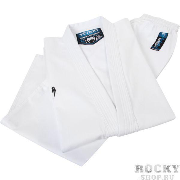 Детское кимоно для каратэ Venum Challenger, Белое VenumДля карате<br>Кимоно (каратэги) для каратэ Venum Challenger. Удобное, легкое, но при этом достаточно прочное кимоно. Позволяет тренироваться даже в максимальном ускорении, не создаёт дискомфорта. Предназначено для трёх основных техник: кихон, кумитэ и ката. Изготовлено из натуральной ткани плотностью 8 унций. Каратэги хорошо впитывает пот и дышит. Минимальное количество вышивки и патчей. Штаны удерживаются за счёт эластичного пояса со шнурком. Специально усиленные места в областях с высокой нагрузкой. Кимоно сохраняет достойный вид и после многочисленных стирок. Некоторые тренера рекомендуют брать кимоно на 5см больше вашего размера. Выполнено в классическом белом цвете, который символизирует скромность и смирение. Состав: 100% хлопок. Пояс (оби) в комплект НЕ входит.<br><br>Размер: 140см