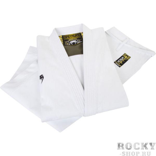 Детское кимоно для каратэ Venum Elite Absolute, Белое VenumДля карате<br>Кимоно (каратэги) для каратэ Venum Elite Absolute. Высокое качество кимоно, серьёзное отношение даже к мелочам. Всё это делает Venum Elite Absolute настоящим шедевром. Предназначено для трёх основных техник: кихон, кумитэ и ката. Удобное и достаточно прочное кимоно. Позволяет тренироваться даже в максимальном ускорении, не создаёт дискомфорта. Предназначено для отработки техники ката. Именно поэтому у каратэги Venum Elite Absolute усилены рукава и воротник. Изготовлено из натуральной ткани плотностью 13. 5 унций. Каратэги хорошо впитывает пот и дышит. Минимальное количество вышивки и патчей. Штаны удерживаются за счёт эластичного пояса со шнурком. Специально усиленные места в областях с высокой нагрузкой. Кимоно сохраняет достойный вид и после многочисленных стирок. Некоторые тренера рекомендуют брать кимоно на 5см больше вашего размера. Выполнено в классическом белом цвете, который символизирует скромность и смирение. Состав: 100% хлопок высочайшего качества. Пояс (оби) в комплект НЕ входит.<br><br>Размер: 150см