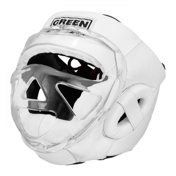 Боксерский шлем safe на шнуровке, Белый Green HillБоксерские шлемы<br>Боевой и тренировочный шлем. Сделан из высококачественной натуральной кожи. Усиленная защита в областиушей, и подбородка. Лицо защищает пластиковая маска. Размер:При подборе шлема следует также учесть, что размеры шлемов можно регулировать за счет шнуровки. Для выбора шлемов, ориентируйтесь на следующие данные:охват головы - размер48-53 см - S54-56 см - М57-60 см – L61-63 см - XL<br><br>Размер: XL