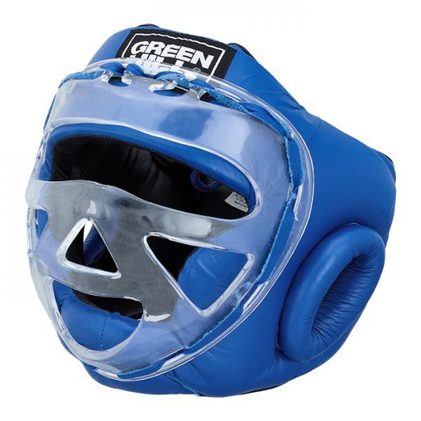 Боксерский шлем safe на шнуровке, Синий Green HillБоксерские шлемы<br>Боевой и тренировочный шлем. Сделан из высококачественной натуральной кожи. Усиленная защита в областиушей, и подбородка. Лицо защищает пластиковая маска. Размер:При подборе шлема следует также учесть, что размеры шлемов можно регулировать за счет шнуровки. Для выбора шлемов, ориентируйтесь на следующие данные:охват головы - размер48-53 см - S54-56 см - М57-60 см – L61-63 см - XL<br><br>Размер: XL
