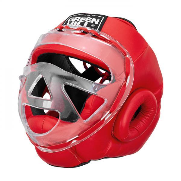 Боксерский шлем safe на шнуровке, Красный Green HillБоксерские шлемы<br>Боевой и тренировочный шлем. Сделан из высококачественной натуральной кожи. Усиленная защита в областиушей, и подбородка. Лицо защищает пластиковая маска. Размер:При подборе шлема следует также учесть, что размеры шлемов можно регулировать за счет шнуровки. Для выбора шлемов, ориентируйтесь на следующие данные:охват головы - размер48-53 см - S54-56 см - М57-60 см – L61-63 см - XL<br><br>Размер: L