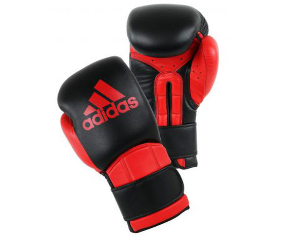Купить Перчатки боксерские Super Pro Safety Sparring Hook & Loop черно-красные Adidas 18 унций (арт. 12879)