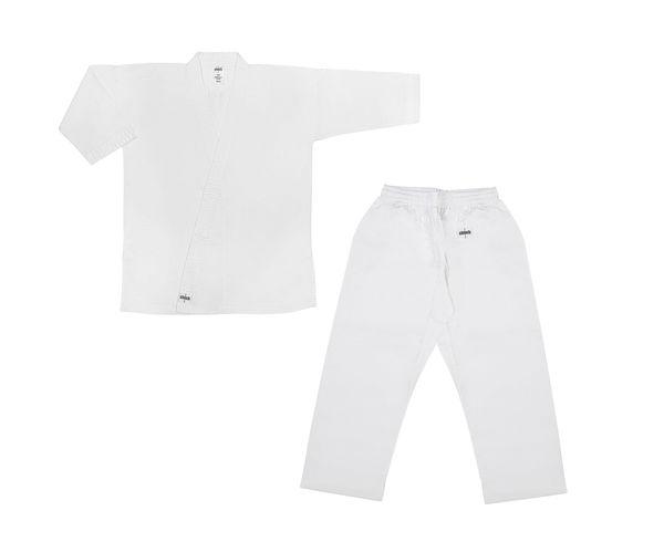 Кимоно для карате детское Clinch Karate Classic, 120 см Clinch GearЭкипировка для Каратэ<br>Кимоно карате Classic. 100% хлопок, отбеленное, плотность 8–8,5 унций. Пояс штанов на широкой резинке и на шнуре. Усиление швов, по низу штанин, куртки и рукавов – многострочная прошивка. Без пояса.<br><br>Цвет: белое