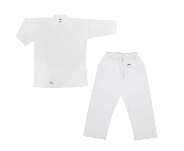 Кимоно для карате детское Clinch Karate Classic, 140 см Clinch GearЭкипировка для Каратэ<br>Кимоно карате Classic. 100% хлопок, отбеленное, плотность 8–8,5 унций. Пояс штанов на широкой резинке и на шнуре. Усиление швов, по низу штанин, куртки и рукавов – многострочная прошивка. Без пояса.<br><br>Цвет: белое