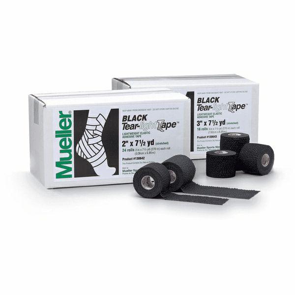MUELLER 130643 BLACK TEAR-LIGHT TAPE  7,5 x 6,9 m (коробка 16 шт.)Тейп MuellerТейпы<br>Тейп MUELLER  предназначен для фиксации или поддержки суставов в различных видах спорта. Данная модель отличается перфорированной структурой, необходимой для лучшей вентиляции кожи, а также высокой прочностью нитей. Клейкое вещество нанесено на тейп с промежутками для усиления дышащего эффекта. Лента равномерно разматывается, обладает высокой прочностью на продольный разрыв, при этом легко отрывается поперёк.<br>