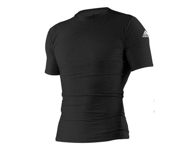 Футболка компрессионная (Рашгард) Rush Guard Short Sleeve, черная AdidasРашгарды<br><br><br>Размер INT: L