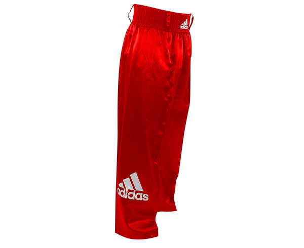 Брюки для кикбоксинга Kick Boxing Pants Full Contact, красные AdidasШтаны для кикбоксинга<br>Брюки для кикбоксинга adidas Pants Kickboxing Full Contact изготовлены из легкого мягкого и приятного на ощупьатласа. На правой штанине брюк большой логотип adidas. Брюки оснащены технологиейClimaCool®: дышащая ткань, которая поглощает излишки влаги и выводит их наружу, оставлет кожу сухой, что повышаеткомфорт во время тренировок. На внутренней стороне ноги специальная эластичная сетка в виде клина на 3/4 длины ноги.   ТехнологияClimaCool® Логотип adidas на резинке Материал: 100% полиэстер<br><br>Размер INT: 160 см