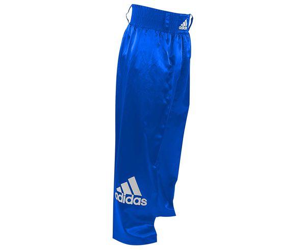 Брюки для кикбоксинга Kick Boxing Pants Full Contact, синие AdidasШтаны для кикбоксинга<br>Брюки для кикбоксинга adidas Pants Kickboxing Full Contact изготовлены из легкого мягкого и приятного на ощупьатласа. На правой штанине брюк большой логотип adidas. Брюки оснащены технологиейClimaCool®:дышащая ткань, которая поглощает излишки влаги и выводит их наружу, оставлет кожу сухой, что повышаеткомфорт во время тренировок. На внутренней стороне ноги специальная эластичная сетка в виде клина на 3/4 длины ноги.  ТехнологияClimaCool® Логотип adidas на резинке Материал: 100% полиэстер<br><br>Размер INT: 170 см