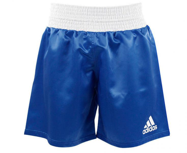 Шорты боксерские Multi Boxing Shorts, синие AdidasШорты для бокса<br>Шорты для профессионального бокса adidas Multi Boxing Shorts синие. Легкаяатласная ткань,+/-160 г/м2 дает полную свободу передвижения. Большой эластичный пояс-бандаж плюс затягивающий шнурок, для оптимальной фиксации и комфорта.  Резинка шириной 10 см по талии Логотип adidas на левой стороне шорт. Материал: 100% полиэстер.<br><br>Размер INT: S