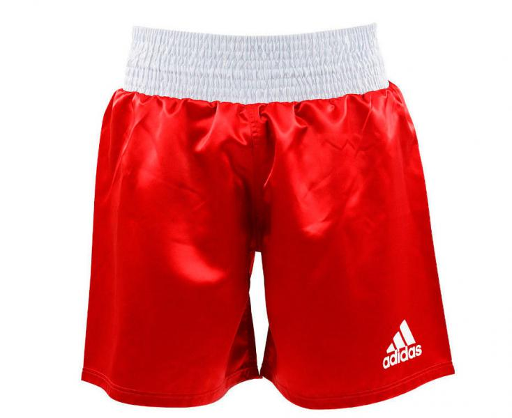 Шорты боксерские Multi Boxing Shorts, красные AdidasШорты для бокса<br>Шорты для профессионального бокса adidas Multi Boxing Shorts красные. Легкаяатласная ткань,+/-160 г/м2 дает полную свободу передвижения. Большой эластичный пояс-бандаж плюс затягивающий шнурок, для оптимальной фиксации и комфорта.   Резинка шириной 10 см по талии Логотип adidas на левой стороне шорт.  Материал: 100% полиэстер.<br><br>Размер INT: S