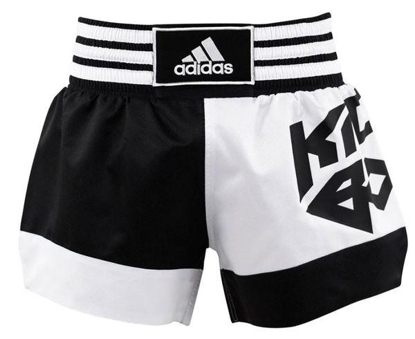 Шорты для кикбоксинга Micro Diamond Kick Boxing Short, бело-черные Adidas