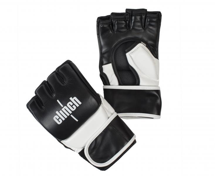 Перчатки для смешанных единоборств Clinch MMA, черно-белые Clinch GearПерчатки MMA<br>Перчатки для смешанных единоборств Clinch MMA Combat. Ударная часть из натуральной кожи. Защита большого пальца. Длинная манжета на липучке.<br><br>Размер: L/XL