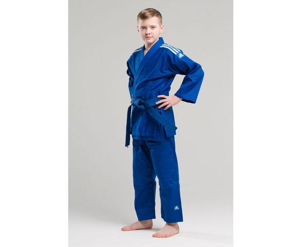 Купить Кимоно для дзюдо подростковое Club синее с белыми полосками Adidas 140 см (арт. 13469)
