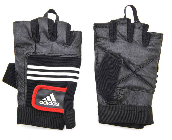 Перчатки для фитнеса Leather Lifting Gloves черные Adidas
