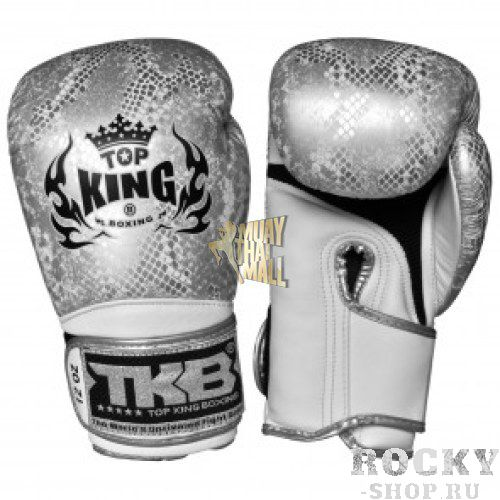 Перчатки для тайского бокса Top King Ultimate Змея, черно-серебряные, 16 oz Top KingЭкипировка для тайского бокса<br>Боксерские перчатки Top King Ultimate, стилизованные под змеиную кожу — качественные перчатки от ведущей компании-производителя экипировки для тайского бокса. Перчатки Top King Ultimate выполнены из натуральной кожи высшего качества, все перчатки делаются вручную. Внутри перчаток специальная защитная пена, которая поглощает удары, а удлиненная манжета обеспечивает дополнительную фиксацию запястья. Производство перчаток — Таиланд.<br><br>Цвет: бело-золотой/white-gold