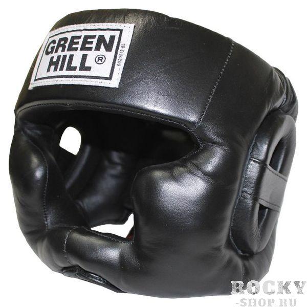 Шлем для тайского бокса SUPER от GreenHill, Черный Green HillЭкипировка для тайского бокса<br>Материал: Натуральная кожаВиды спорта: БоксТренировочный шлем. Сделан из высококачественной натуральной кожи. Усиленная защита в области ушей, и подбородка. . Размер:При подборе шлема следует также учесть, что размеры шлемов можно регулировать за счет специальных застежек. Для выбора шлемов, ориентируйтесь на следующие данные:охват головы - размер48-53 см - S54-56 см - М57-60 см – L61-63 см - XL<br><br>Защищает от травм<br>Защита подбородка<br>Застёжка-липучка на затылке<br>Двойная шнуровка сверху надёжно фиксирует шлем на голове<br>Материал - 100% кожа<br>Гипоаллергенный материал подкладки<br><br>Размер: S