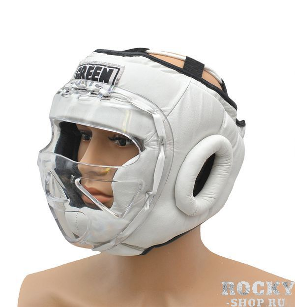 Шлем для тайского бокса safe, Белый Green HillЭкипировка для тайского бокса<br>Материал: Натуральная кожаВиды спорта: БоксБоевой и тренировочный шлем. Сделан из высококачественной натуральной кожи. Усиленная защита в области ушей, и подбородка. Лицо защищает пластиковая маска. Размер:При подборе шлема следует также учесть, что размеры шлемов можно регулировать за счет специальных застежек. Для выбора шлемов, ориентируйтесь на следующие данные:охват головы - размер48-53 см - S54-56 см - М57-60 см – L61-63 см - XL<br><br>Размер: L