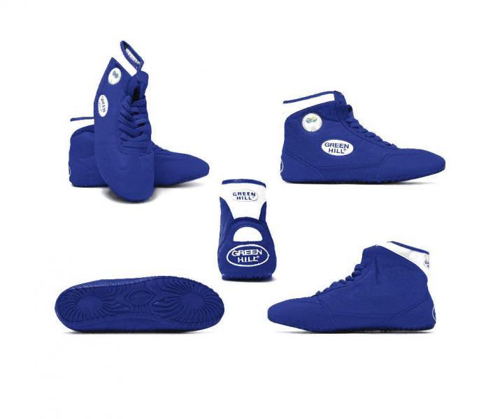 Борцовки Green Hill gwb-3052, сине-белые Green HillЭкипировка для Борьбы<br>Обувь для борьбы GWB-3052- это борцовки от популярного бренда Green Hill. Благодаря удлиненной голени инадежной шнуровке такая обувь обеспечивает спортсмену комфорт иуверенность наковре.<br><br>Размер: 35