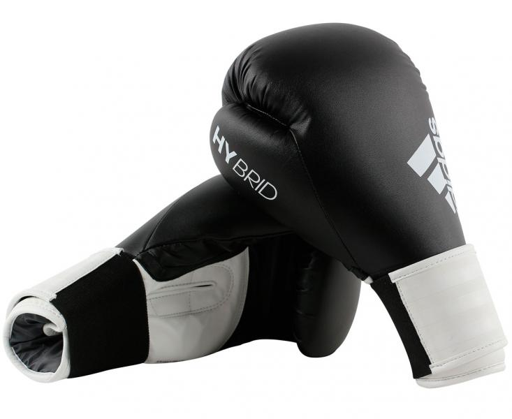 Перчатки боксерские Hybrid 100 черно-белые, 10 унций Adidas