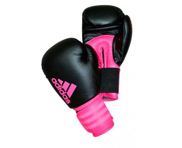 Перчатки боксерские Hybrid 100 Dynamic Fit черно-розовые Adidas 8 унций (арт. 13976)  - купить со скидкой