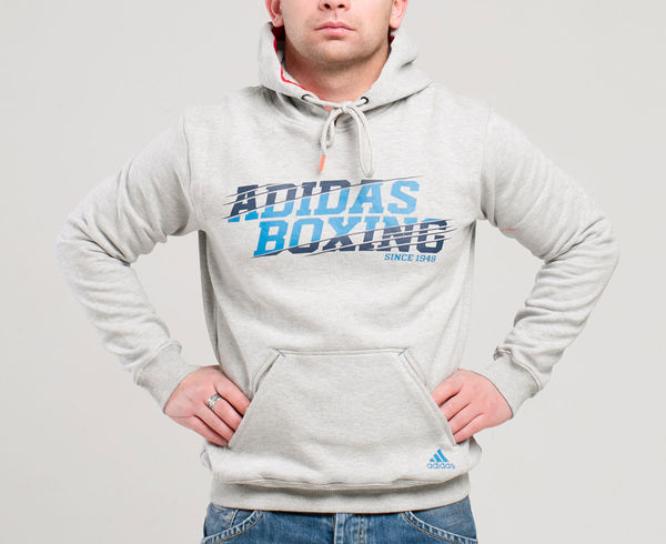 Толстовка с капюшоном (Худи) Graphic Hoody Boxing серая AdidasТолстовки / Олимпийки<br><br><br>Размер INT: L