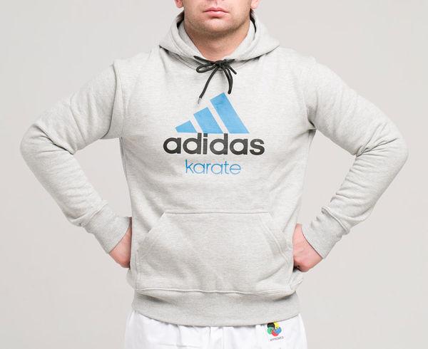 Купить Толстовка с капюшоном (Худи) Community Hoody Karate серо-голубая Adidas adiCHK (арт. 13996)