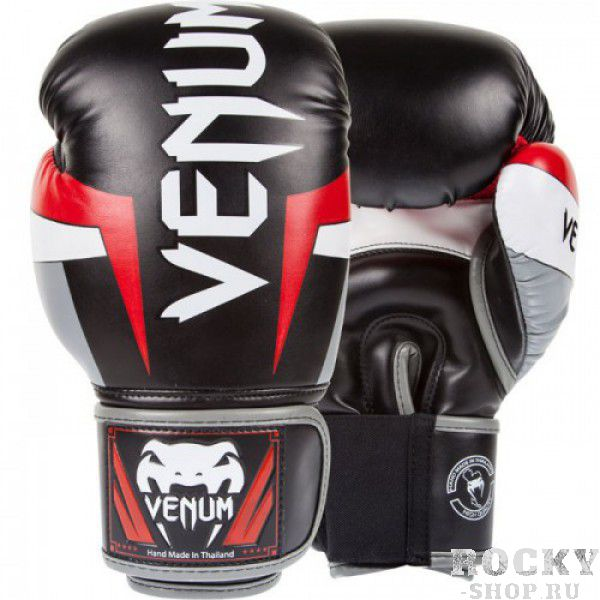 Перчатки боксерские Venum Elite Boxing Gloves - Black/Red/Grey 12 унций (арт. 14177)  - купить со скидкой