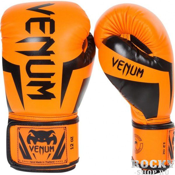 Перчатки боксерские Venum Elite Neo Orange, 16 oz VenumБоксерские перчатки<br>Перчатки боксерские Venum Elite Neo Orange изготовлены вручную из синтетической кожи Skintex – качество на высоте. Трехуровневая пена гасит ударную волну всякий раз, когда Вы делаете удар. Уникальный дизайн и цвет подходит для бойцов любого уровня. Усиленные швы и сетчатые панели в сочетании с эргономичной формой обеспечивают удобную посадку руки, создается ощущение, что перчатка и рука – единое целое. Оппонент будет чувствовать на себе элитную силу Ваших ударов. Особенности:Премиум кожа SkintexСетчатая панель под внутренней частью ладони для лучшей терморегуляцииТрехслойная внутренняя пенаУсиленная ладоньБольшой палец прилегает на 100%, что сокращает риск травматизмаУкрепленные швыШирокая эластичная липучка-застежкаДлинные манжеты для лучшей защиты запястьяРучная работа, Тайланд<br>