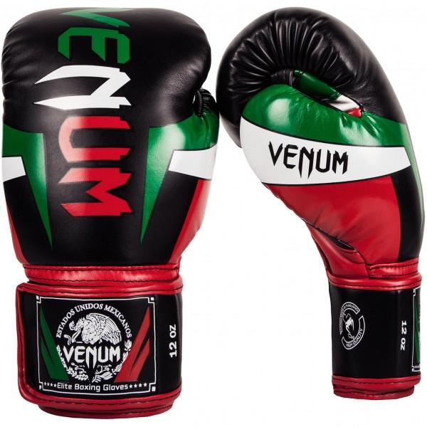 Перчатки боксерские Venum Elite Mexique Black, 10 унций VenumБоксерские перчатки<br>Эксклюзивные перчатки с символикой Мексики. В них Ваши руки будут в полной безопасности даже при нанесении мощных джебов, кроссов, апперкотов и хуков. Созданы из синтетической кожи высшего уровня, что гарантирует долгий срок службы. Изогнутая анатомическая форма создает максимальный комфорт. Многослойная внутренняя пена эффектино поглощает ударную мощь. Надежная фиксация на руке минимизирует риск возникновения травмы и достигается удобным ремешком на липучке. Спарринги или работа на лапах, эти перчатки несомненно приведут Вас к успеху!Особенности:- синтетическая кожа Skintex- сетчатые панели для улучшенной терморегуляции- трехслойная внутренняя пена- усиленная ладонь для максимального поглощения ударной волны- большой палец прикреплен к ладони для максимальной защиты- усиленные швы- широкая застежка на липучке- длинные манжеты для лучшей защиты запястья<br>