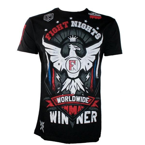 Футболка Fight Nights Птица, черная Fight NightsФутболки<br>Черная футболка Fight Nights от отечественного производителя выполнена из хлопка (100%), имеет стильный рисунок и концептуальную надпись. Для любителей единоборств.<br><br>Размер INT: L