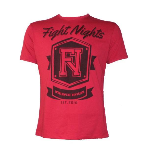 Футболка Fight Nights Worldwide Division, красная Fight NightsФутболки<br>Футболка Fight Nights Worldwide Division от отечественного производителя выполнена из хлопка (100%), имеет стильный рисунок и концептуальную надпись. Для любителей единоборств.<br><br>Размер INT: L