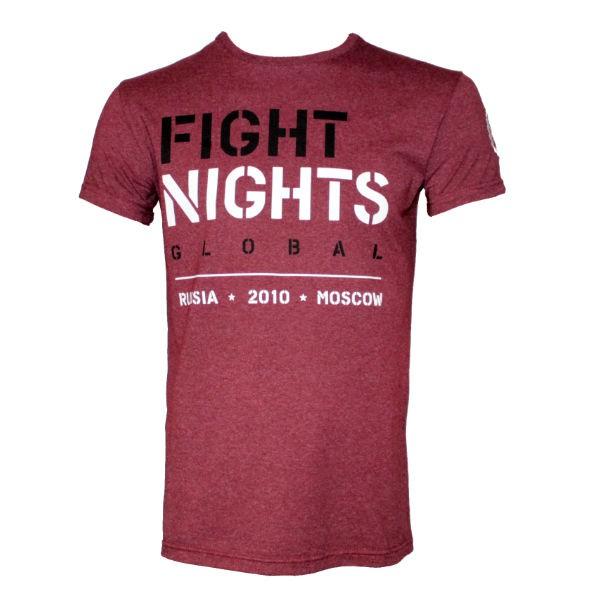 Футболка Fight Nights Global, бордовая Fight NightsФутболки<br>Новинка от компании Fight Nights! Футболка великолепного качества пошива, выполненная из хлопка с добавлением эластина, для поддержания формы футболки. Серия футболок Global выполнена в классических цветах Fight Nights. На плече расположена вышивка с фирменным логотипом, способ нанесения принта позволяет сохранять насыщенность цвета и целостность рисунка после многократных стирок. Футболка выполнена из ткани меландж, которая имеет особую фактуру, состоящую из нескольких цветов.<br><br>Размер INT: L