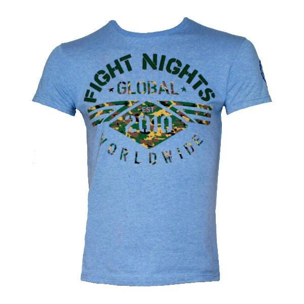 Футболка Fight Nights Global Worldwide, голубая Fight NightsФутболки<br>Новинка от компании Fight Nights! Футболка великолепного качества пошива, выполненная из хлопка с добавлением эластина, для поддержания формы футболки. Серия футболок Global выполнена в классических цветах Fight Nights. На плече расположена вышивка с фирменным логотипом, способ нанесения принта позволяет сохранять насыщенность цвета и целостность рисунка после многократных стирок. Футболка выполнена из ткани меландж, которая имеет особую фактуру, состоящую из нескольких цветов. Сама надпить Fight Nights нанесена отдельными объемными буквами, что делает футболку более интересной.<br>