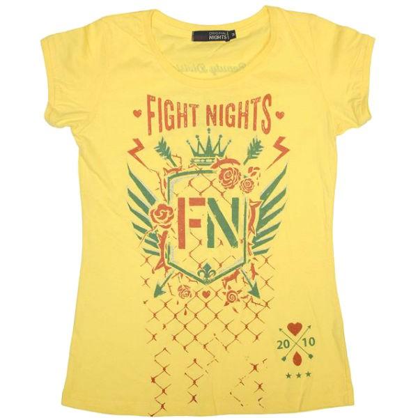 Футболка женская Fight Nights Стрелы, желтая Fight NightsФутболки<br>Женская футболка из новой коллекции от компании Fight Nights. Яркие цвета, логотип компании и качественный дышащий хлопок - все что нужно для тех, кто любит удобные, практичные, но в то же время индивидуальные вещи! Футболка выполнена из натурального хлопка.<br><br>Размер INT: L
