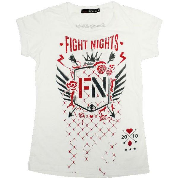Футболка женская Fight Nights Стрелы, белая Fight NightsФутболки<br>Женская футболка из новой коллекции от компании Fight Nights. Яркие цвета, логотип компании и качественный дышащий хлопок - все что нужно для тех, кто любит удобные, практичные, но в то же время индивидуальные вещи! Футболка выполнена из натурального хлопка.<br>