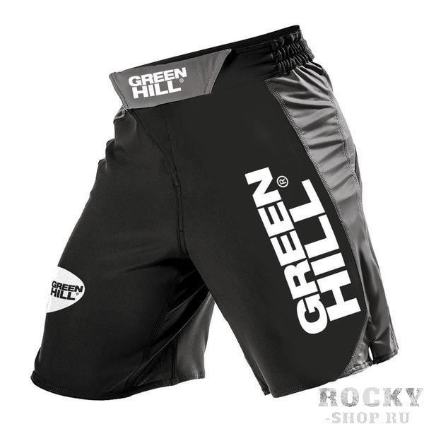 Шорты для MMA Green Hill, черные Green HillШорты ММА<br>Высококачественные шорты MMA выполнены из полиэстера высокой плотности. По бокам расположены вставки из лайкры для обеспечения эластичности и защиты от разрыва шорт при работе ногами и борьбе. Липучка по центру и шнуровка позволяют регулировать размер шорт и обеспечивают надежную посадку.<br><br>Размер INT: S