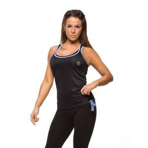 Майка женская Bad Girl Vest Black Blue Bad BoyФутболки / Майки / Поло<br>Майка жен Bad Girl Vest Black Blue   Элегантная майка из легкого полиэстера для тренировок в жаркое время. За счет красивого кроя подчеркнет все ваши достоинства. Специальный материал полностью вбирает в себя всю влагу и быстро сохнет, благодаря чему тело остается сухим, что дает дополнительное преимущество на тренировке. Кромка по краям майки не только украшает, но и дает плотное прилегание к телу, за счет чего майка не задирается и не съезжает с места. Задний крой выполнен в стиле «борцовки», открывая большую часть спины. Завершает дизайн симпатичная шнуровка на нижней части майки, выполняя функцию фиксации и являясь изысканным дополнением.Состав: полиэстер<br>