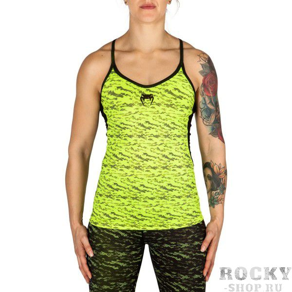 Майка Venum Camoline - Black/Neo Yellow VenumМайки<br>Майка Venum Camoline - Black/Neo Yellow - комбинация моды и спорта. Гарантированная свобода движений за счет открытой спины и рук. Для полноты лука обязательно носить с леггинсами Camoline. Особенности:- 95% полиэстер/5% спандекс- мягкая ткань- быстро сохнет- сделано в Китае<br><br>Размер INT: XS