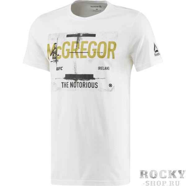Футболка Reebok McGregor ReebokФутболки<br>Футболка Reebok McGregor. Официальная футболка Конора The Notorious Макгрегора от Reebok. Состав: хлопок. Уход: машинная стирка в холодной воде, деликатный отжим, не отбеливать.<br><br>Размер INT: S