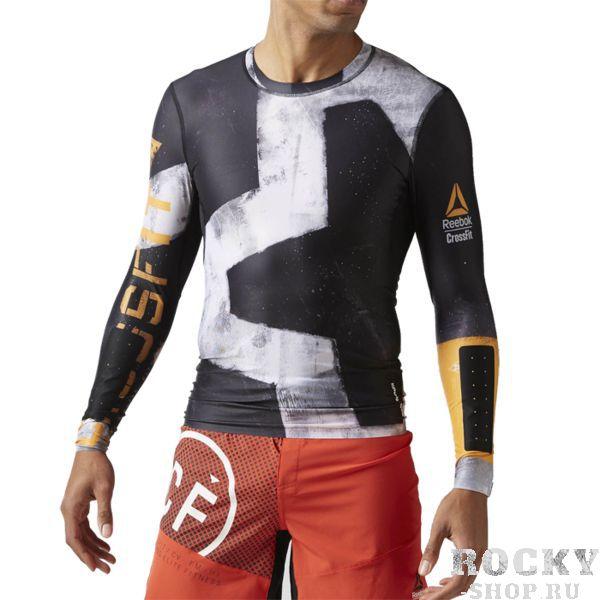 Спортивная футболка Reebok CrossFit ReebokРашгарды<br>Компрессионная футболка с длинным рукавом Reebok CrossFit Engineered. Материал: полиэстер / эластан для эластичности и комфорта. Компрессионный крой, идеально прилегающий к телу, обеспечивает максимальную поддержку мышц. Технология Speedwick отводит влагу с поверхности тела, оставляя ощущение сухости и комфорта. Сетчатая жаккардовая спинка для эффективной вентиляции. Цельнокроеная задняя часть рукава для полной свободы движений. Антибактериальная обработка предотвращает появление неприятного запаха. Проклеенные вставки на предплечьях для защиты от истирания. Состав: полиэстер, эластан.<br><br>Размер INT: M