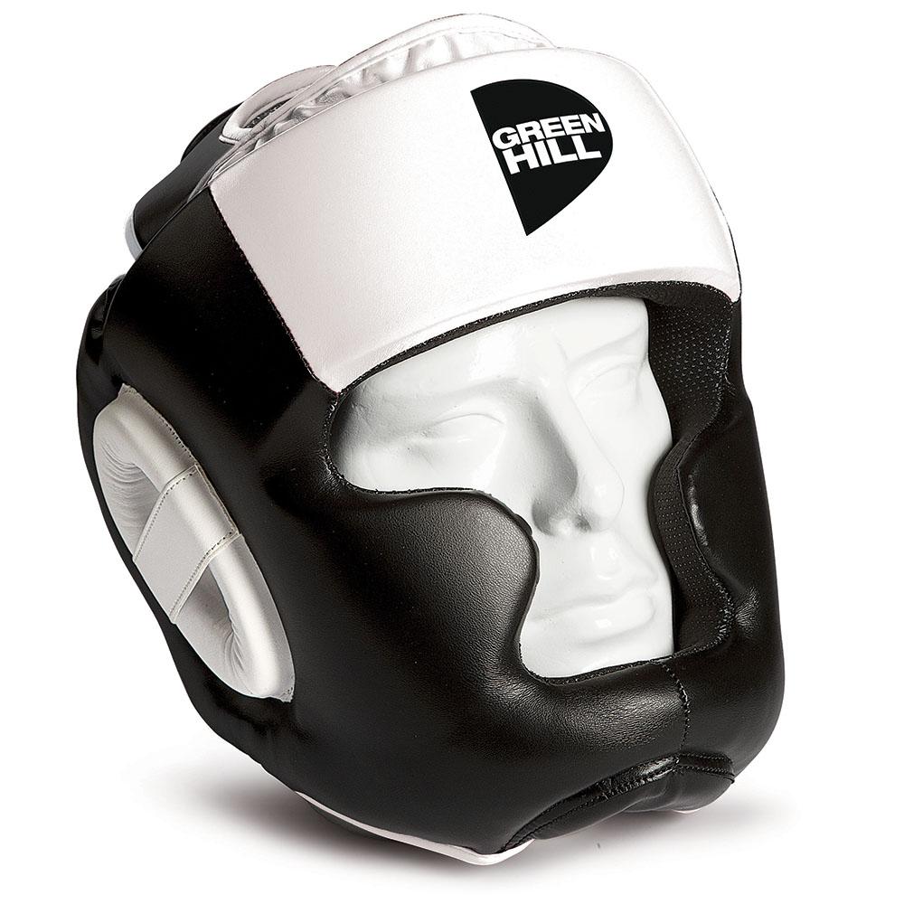 Шлем для тайского бокса gh poise, Черный-белый Green HillЭкипировка для тайского бокса<br>Шлем POISE предназначен для тренировок представителей всех видов ударных единоборств. Лицо и подбородок спортсмена надежно защищены конструкцией Full Face. Крышка шлема представляет собой пересечение ремней соединяющихся в маленький пенный модуль в виде логотипа GREEN HILL. Шлем очень удобно и просто одевается и снимается. Внешняя сторона шлема выполнена из 100% Полиуретана FX. Внутренняя сторона из ткани WINDSTOPPER<br><br>Размер: S