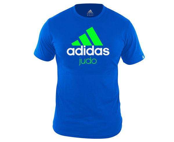 Футболка детская Community T-Shirt Judo Kids сине-зеленая AdidasФутболки<br>Стильная детская футболкаиз эксклюзивной линейки adidasCOMBAT SPORT &amp; MARTIAL ARTS. Классика спортивного стиля, которая никогда не выходит из моды. Изготовленаиз ткани climalite®, которая эффективно отводит влагу от тела во время тренировки. На лицевой сторонекрупный контрастный логотип adidas и надпись JUDO. Удобный рифленый воротЭксклюзивная линейкаCOMBAT SPORT &amp; MARTIAL ARTSТкань сlimalite® отводит влагу с поверхности кожиРифленый круглый воротКлассический кройКрупный контрастный логотип adidas на лицевой сторонеНадпись JUDOСостав: 100% хлопок<br><br>Размер INT: рост 140 см
