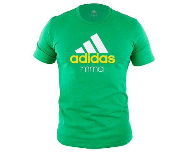 Футболка детская Community T-Shirt MMA Kids зелено-белая AdidasФутболки<br>Стильная детская футболкаиз эксклюзивной линейки adidasCOMBAT SPORT &amp; MARTIAL ARTS. Классика спортивного стиля, которая никогда не выходит из моды. Изготовленаиз ткани climalite®, которая эффективно отводит влагу от тела во время тренировки. На лицевой сторонекрупный контрастный логотип adidas и надпись MMA. Удобный рифленый воротЭксклюзивная линейкаCOMBAT SPORT &amp; MARTIAL ARTSТкань сlimalite® отводит влагу с поверхности кожиРифленый круглый воротКлассический кройКрупный контрастный логотип adidas на лицевой сторонеНадпись MMAСостав: 100% хлопок<br><br>Размер INT: рост 164 см